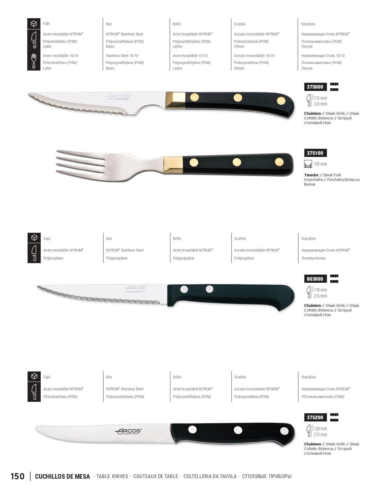 Menaje cocina cubiertos mesa cuchillos de mesa arcos - Cuchillos y menaje ...