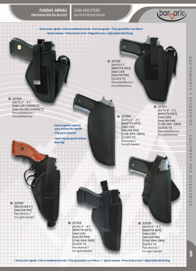 arms GUN HOLSTERS BLISTER PRESENTATION