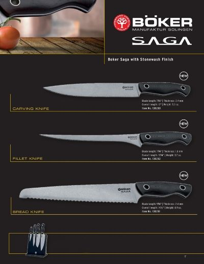 professional knives BOKER SAGA KITCHEN KNIVES