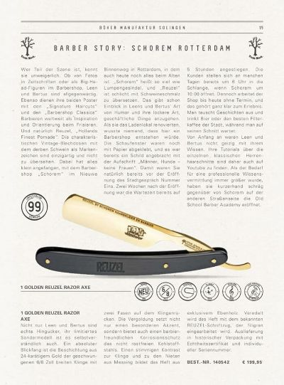pocketknives shave GOLDEN REUZEL RAZOR AXE