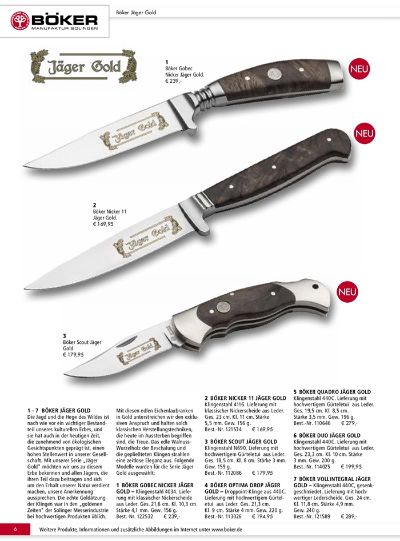 hunting knives JAGER GOLD BOKER