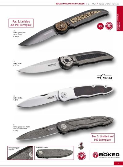 couteaux-navajas chasse DAMAS COUTEAUX BOKER TIRPITZ MERLIN