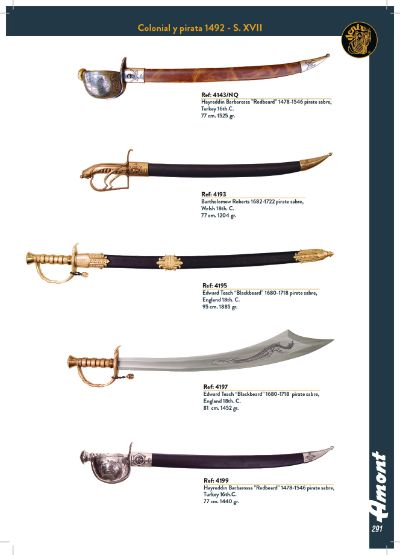 swords sables COLONIAL AND PIRATE SWORD 1492-S. XVII