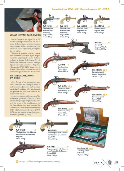 arms antique replicas HISTORICAL GUNS S. XVI-XIX