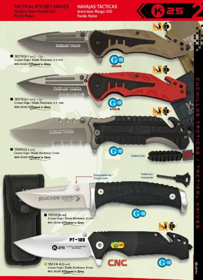 tactical knives K25 RUCKER AND PT-109