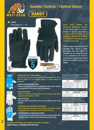 objects personal clothing TACTICAL GLOVES MASTODON HARDY