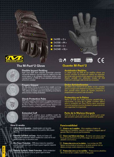 objects personal clothing GLOVES M-PACT 2 MECHANIX WEAR