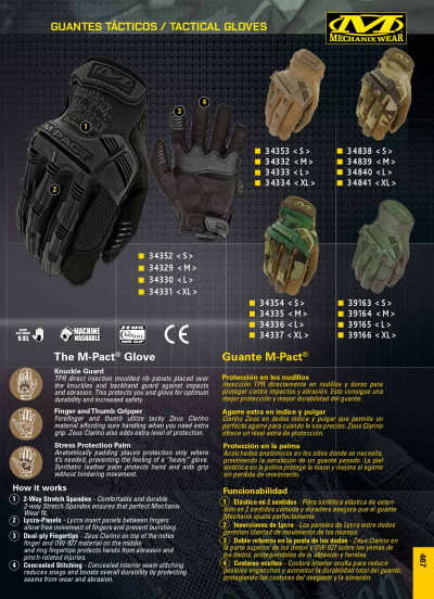 objects personal clothing GLOVES M-PACT MECHANIX WEAR