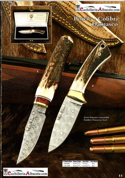 hunting knives KNIVES MUELA BOWIE COLIBRI DAMASCUS