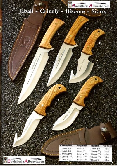 hunting knives KNIVES JABALI CRIZZLY BISONTE SIOUX