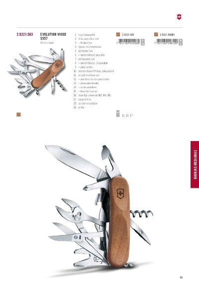 multiuso coltelli EVOLUTION WOOD S557