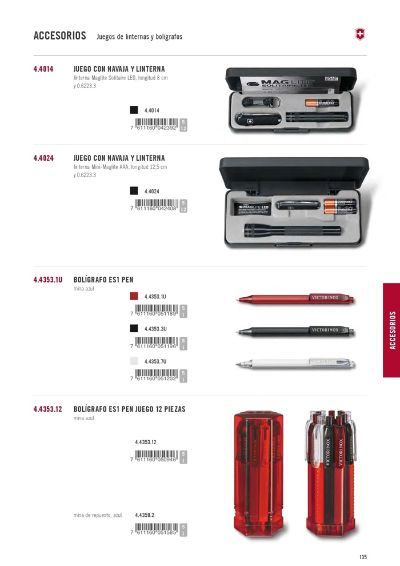 multipurpose accessories SET OF PENS AND FLASHLIGHTS