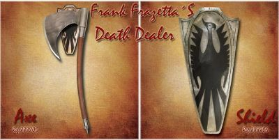 swords shields DEATH DEALER AXE AND SHIELD