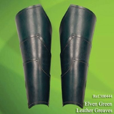swords ELVEN GREEN LEATHER GREAVES